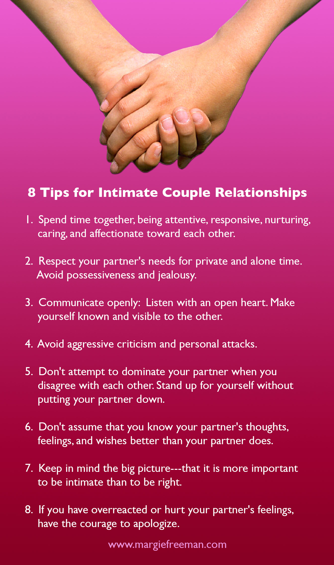 8 Tips for Intimate Couple Relationships - Margie Freeman LCSW